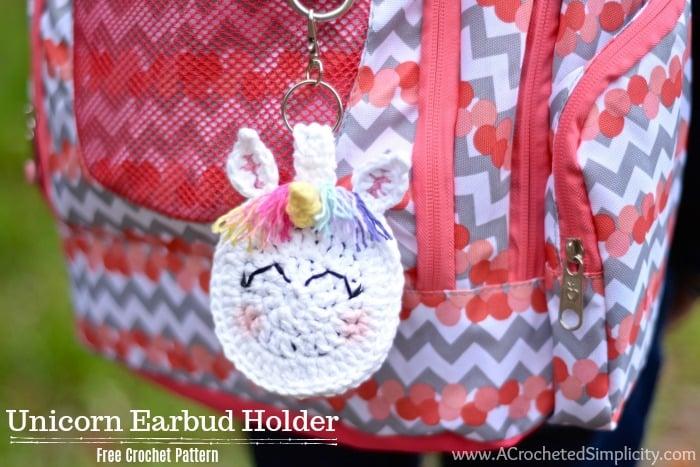 unicorn ear bud holder crochet pattern