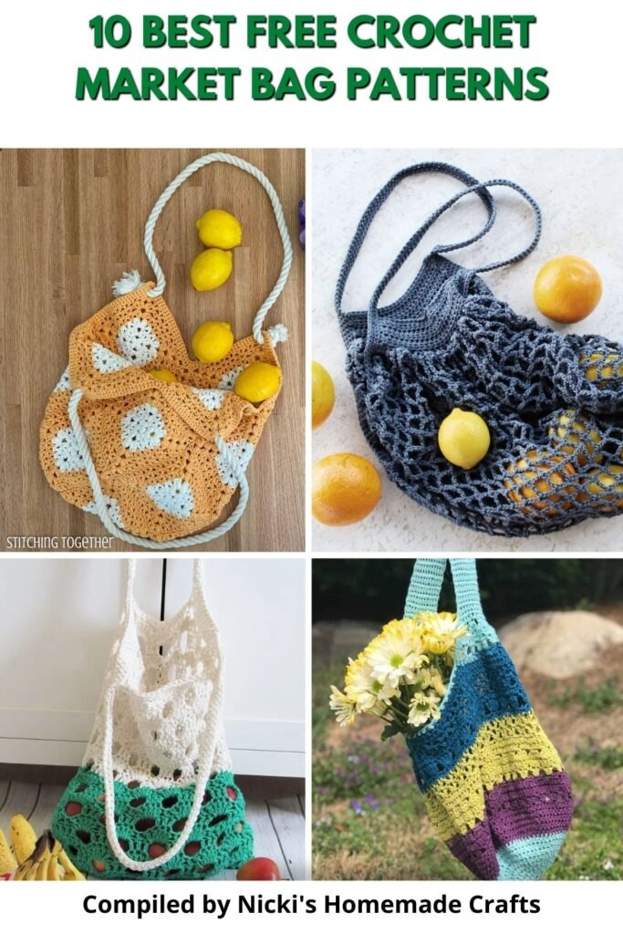round up of open mesh totes for shopping - 10 Best Free Crochet Market Bag Patterns