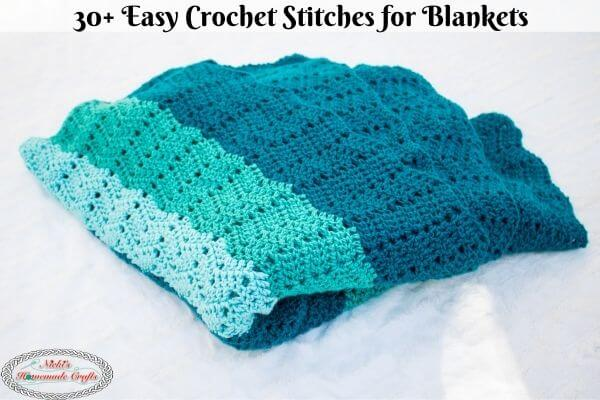 30+ Easy Crochet Stitches for Blankets showing off the chevron stitch
