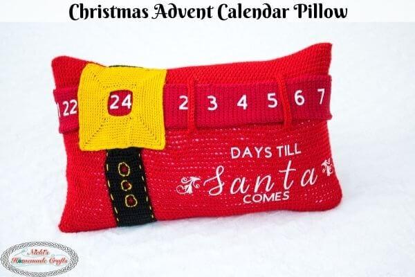 Christmas Advent Calendar Pillow Free Crochet Pattern