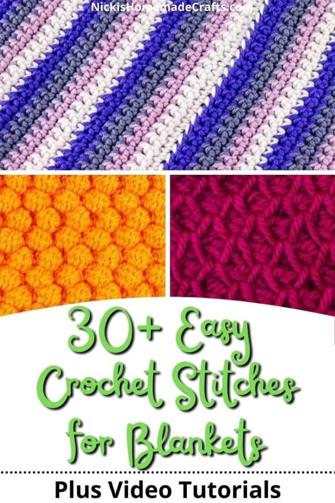 Over 30 Easy Crochet Stitches for Blankets showing three different ones