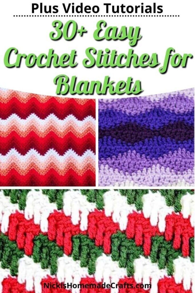 Over 30 Easy Crochet Stitches for Blankets showing three in pictures