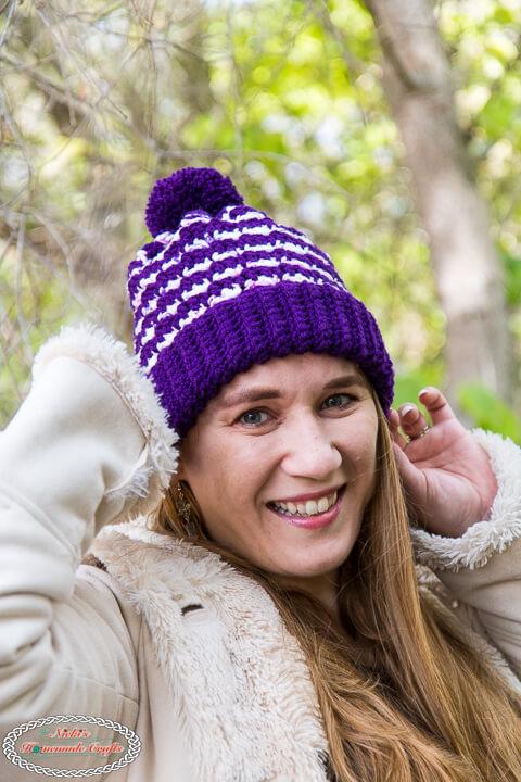 Cute Striped Purple Crochet Hat Pattern
