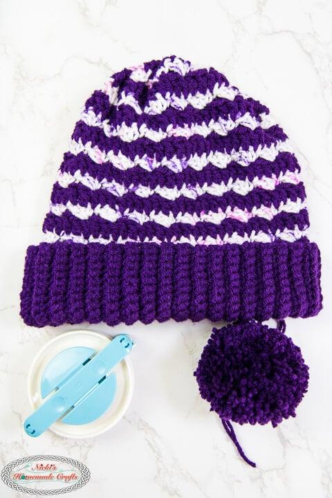 Add the Pom Pom to the Striped Purple Crochet Hat Pattern