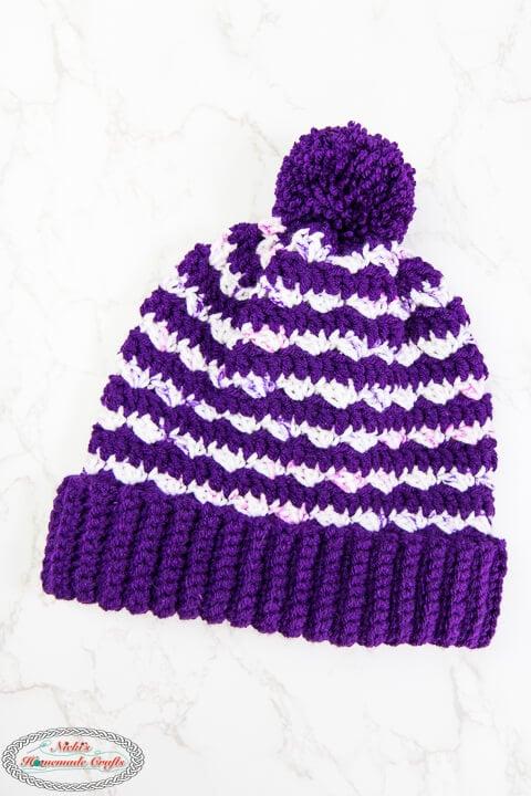 Silt Striped Purple Crochet Hat Pattern with Pom Pom