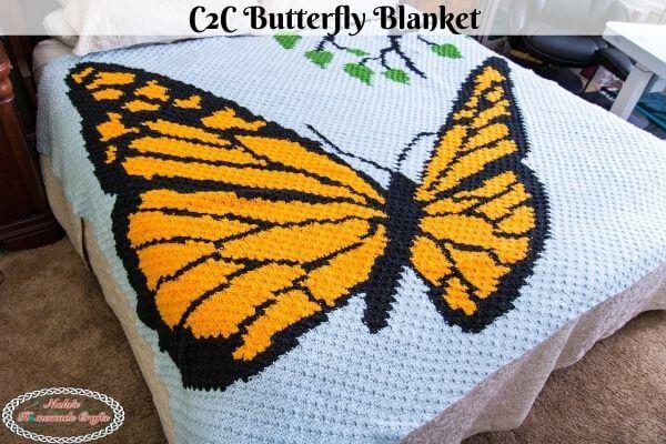 Easy C2C Crochet Butterfly Blanket Pattern