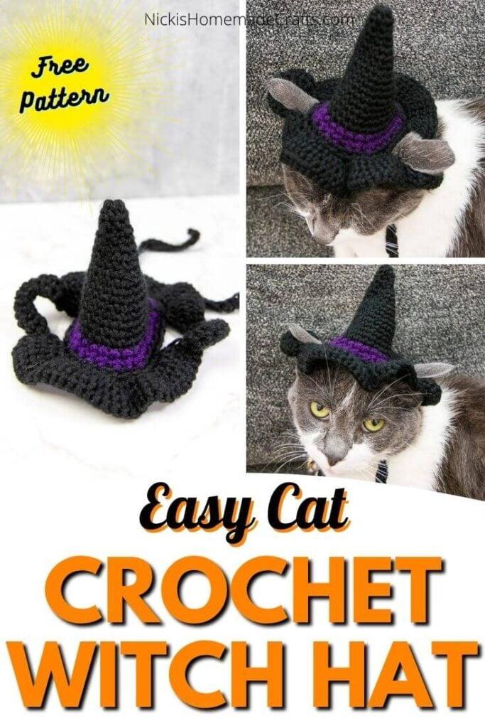Free Cat Crochet Witch Hat Pattern