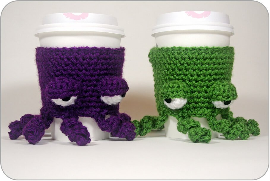 Grumpy crochet Coffee Cup Cozy with octopuses