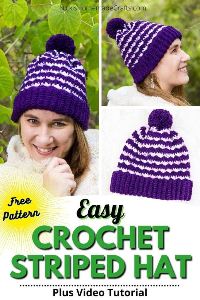 Striped Silt Crochet Hat Free Pattern