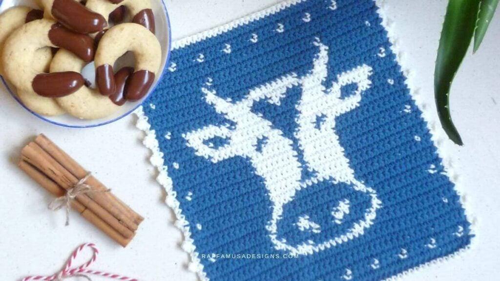 Tapestry Crochet Cow Potholder