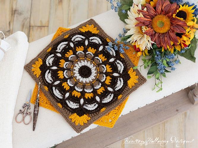 Outono Radiance Crochet Padrão Quadrado