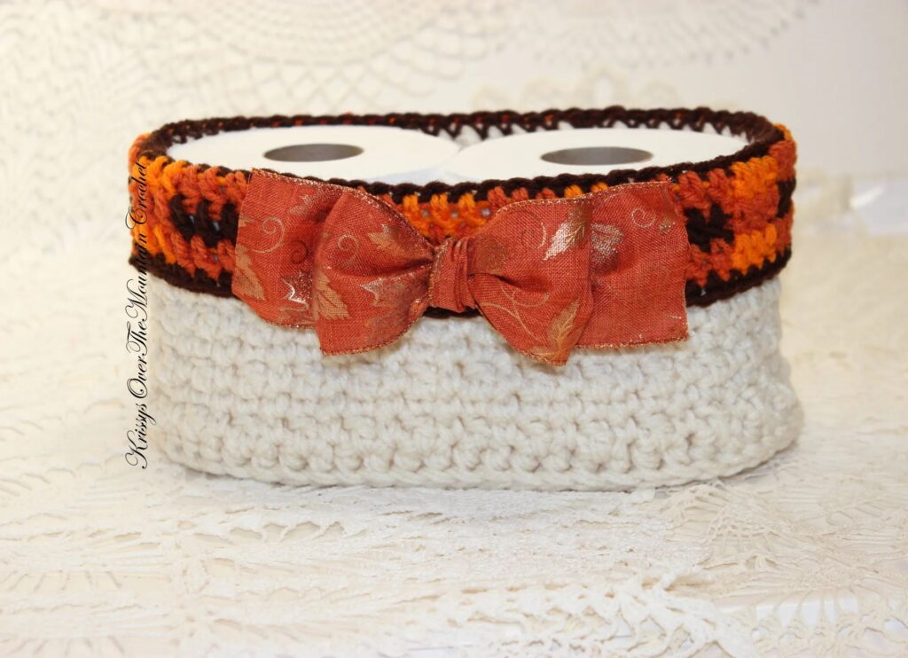 Padrão de decoração de outono para cesta de xadrez de crochê